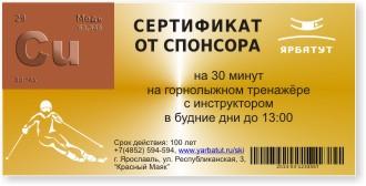 Призовой сертификат бронза